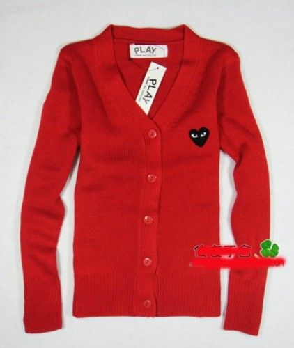 Comme Des GarconsPlay Red and Black Heart Cardigan M