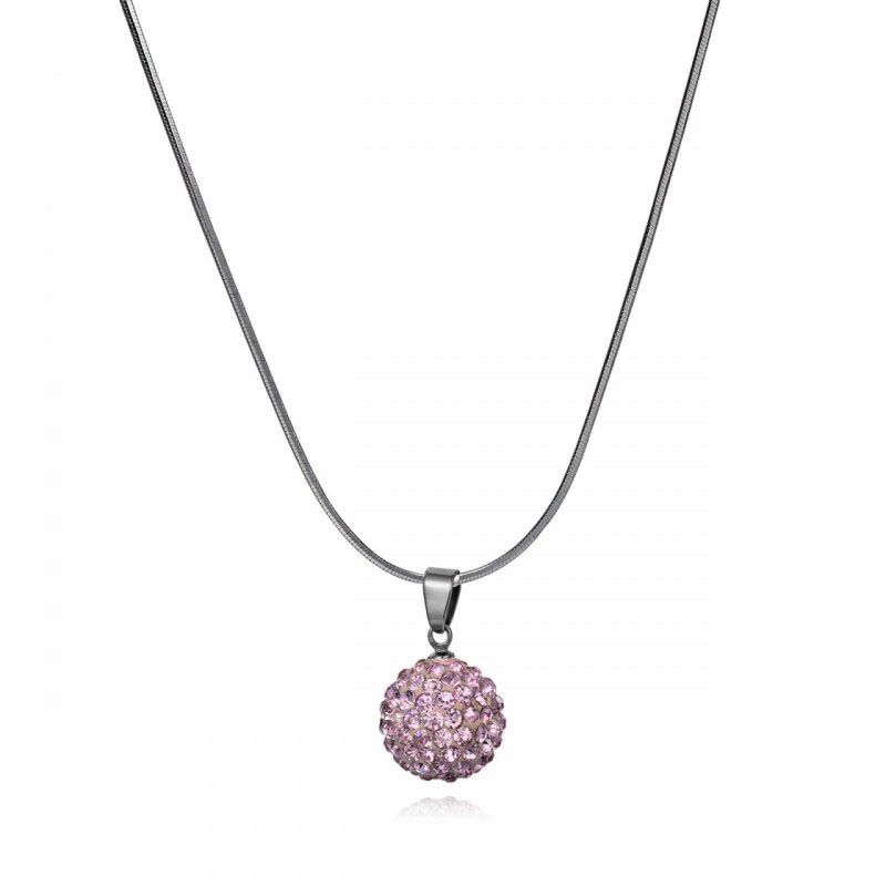Fashion Jewelry Pink Pave Crystal Ball Pendant Necklace