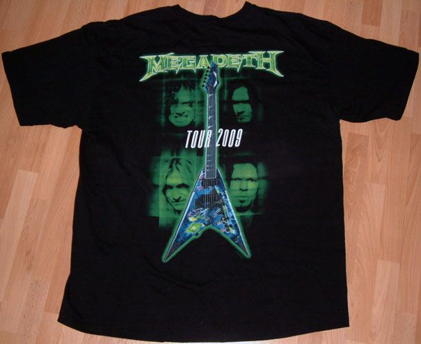 Megadeth Metal Dave Mustaine 2009 Tour Tattoo Biker Death Mens T Shirt