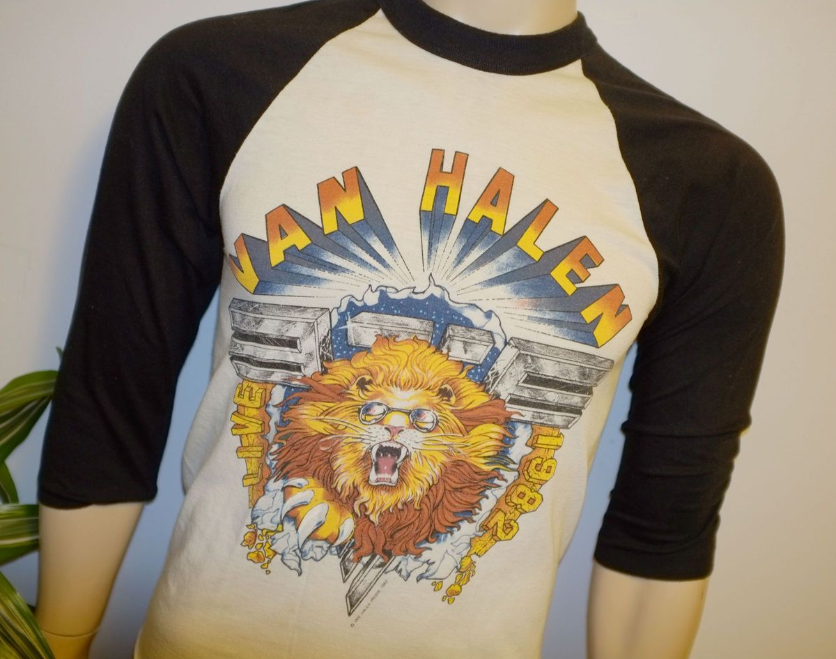 Halen Vtg Concert Tour Jersey Shirt M 80s Eddie David Lee Roth