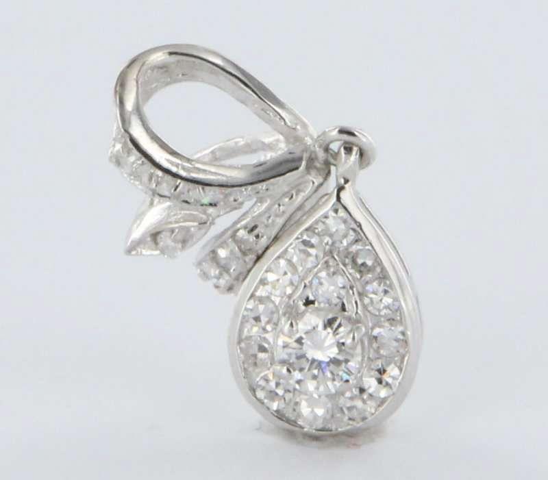 Estate Pave Diamond Gold Drop Pendant Fine Heirloom Pre Owned Jewelry