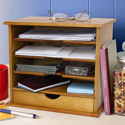 Oak Desk Organizer ~ Oak wood desktop mail organizer slot with drawer