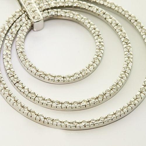 Solid 14K White Gold Diamond Circle Vintage Pendant 15 Necklace