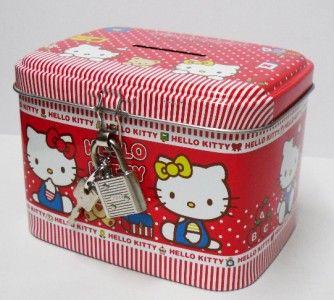 sanrio hello kitty coin bank money pot w lock red