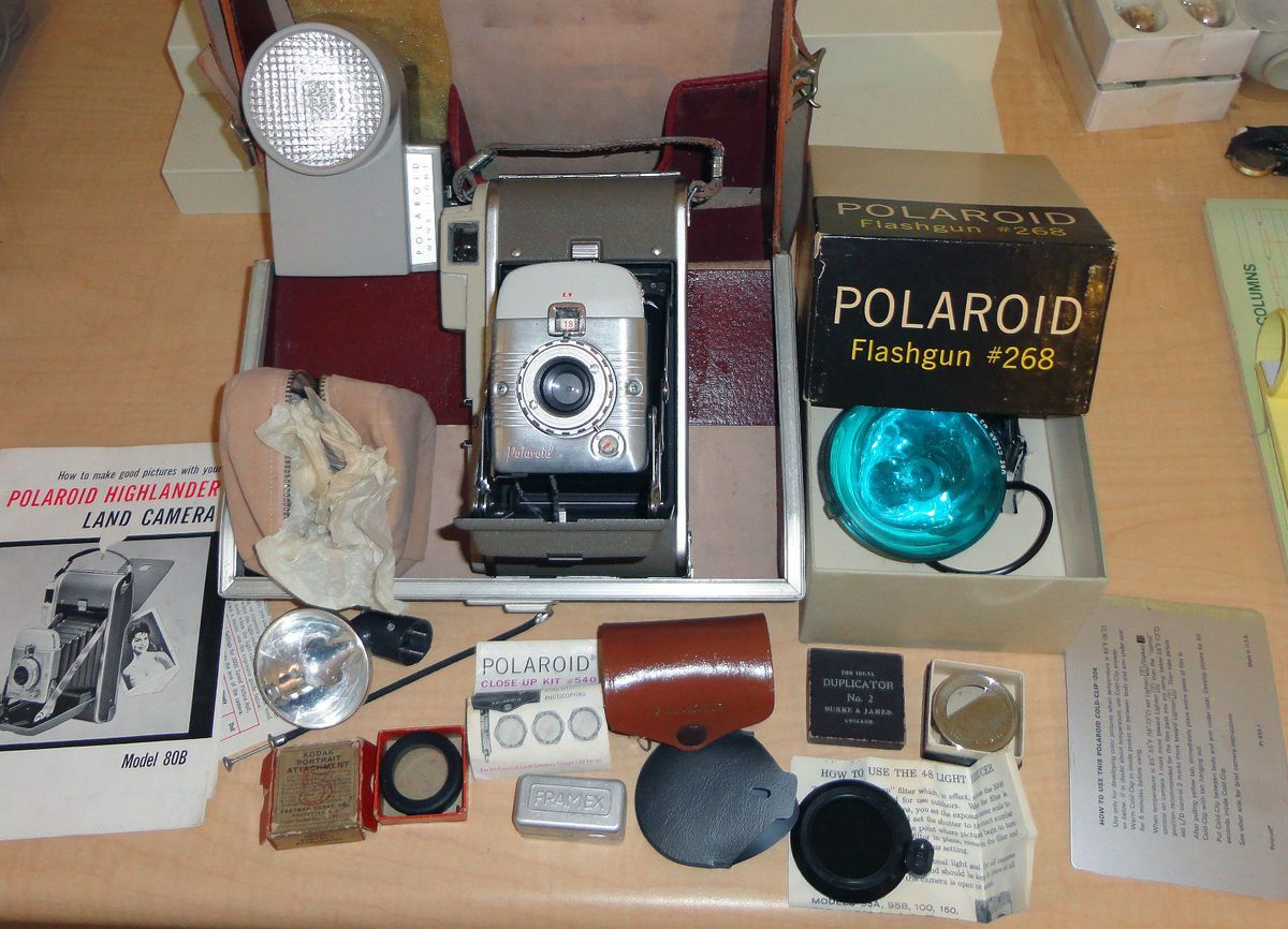Polaroid Highlander Vintage Land Camera Model 80B with Case Many