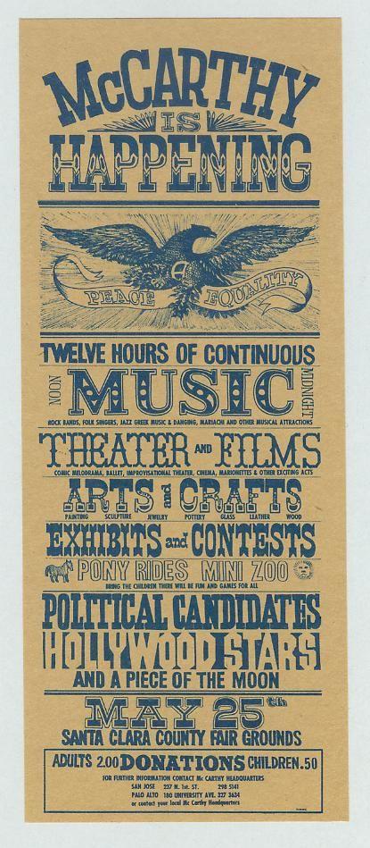 1968 Eugene McCarthy For Pres   FANCY FLYER Fairgrounds SANTA CLARA