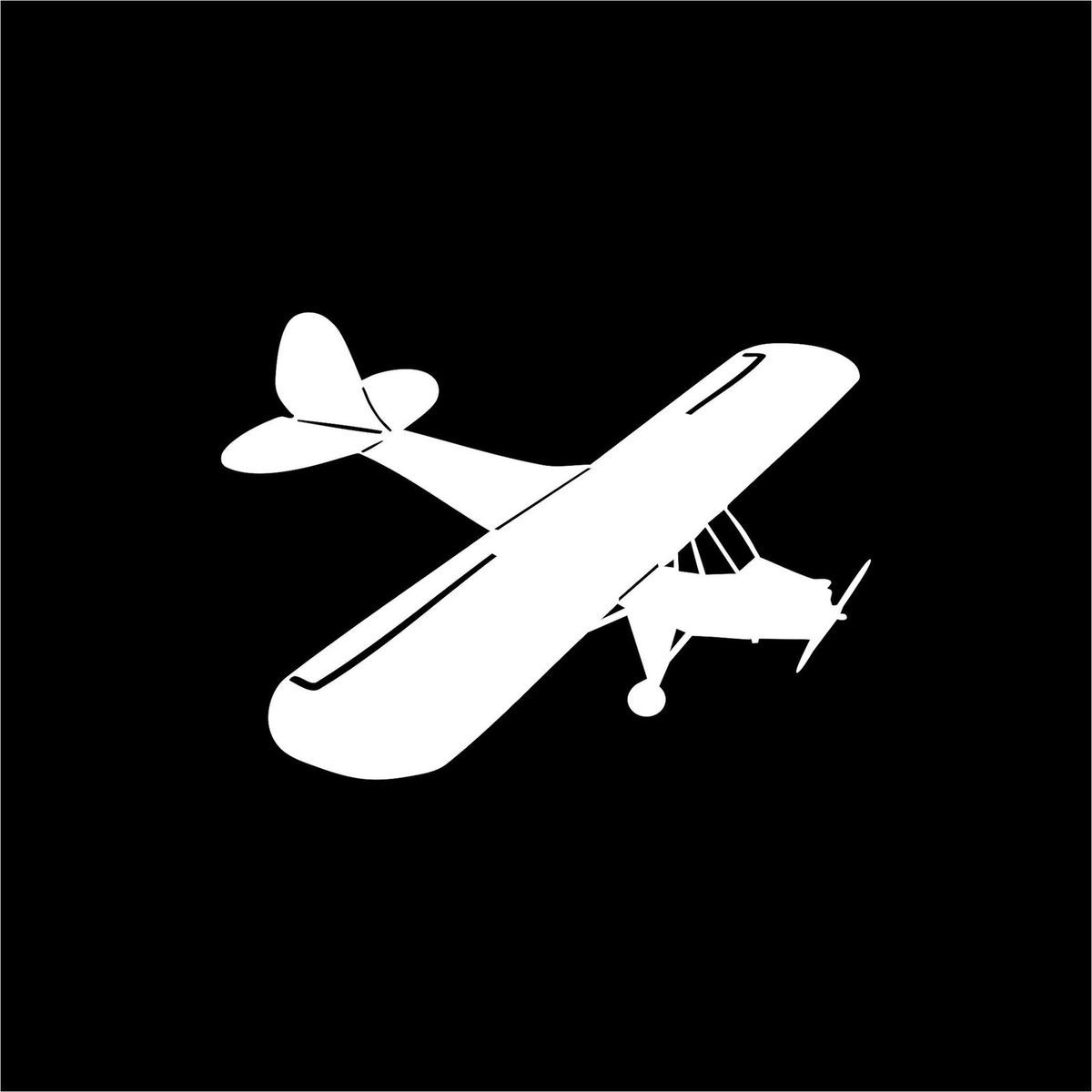 Airplane piper cub white vinyl car window sticker decal large