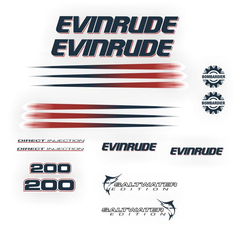 Evinrude 200HP Outboard Motor Stickers Decals Graphics