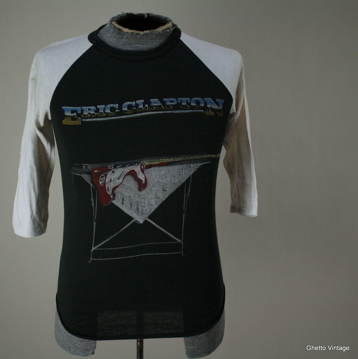 80s ERIC CLAPTON t shirt SMALL Vtg 50 50 Concert Tour Thin