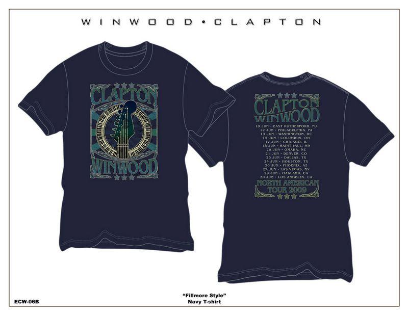 Eric Clapton Steve Winwood 2009 Blue T Shirt Large
