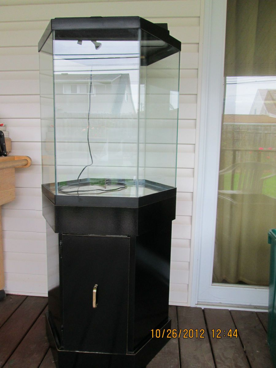 Black glass hexagon fish tank aquarium with hood and base for Octagon fish tank with stand