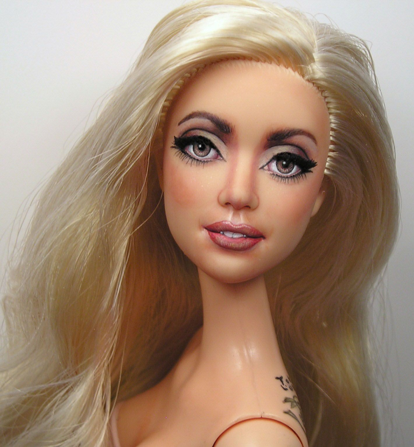 Lady Gaga OOAK Stardoll Barbie Celebrity Art Doll Repaint by Pamela