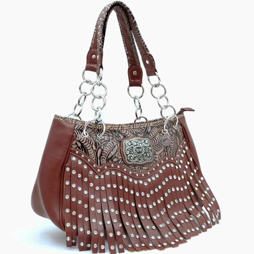 Western Buckle Studded Rhinestone Fringe Handbag Brown