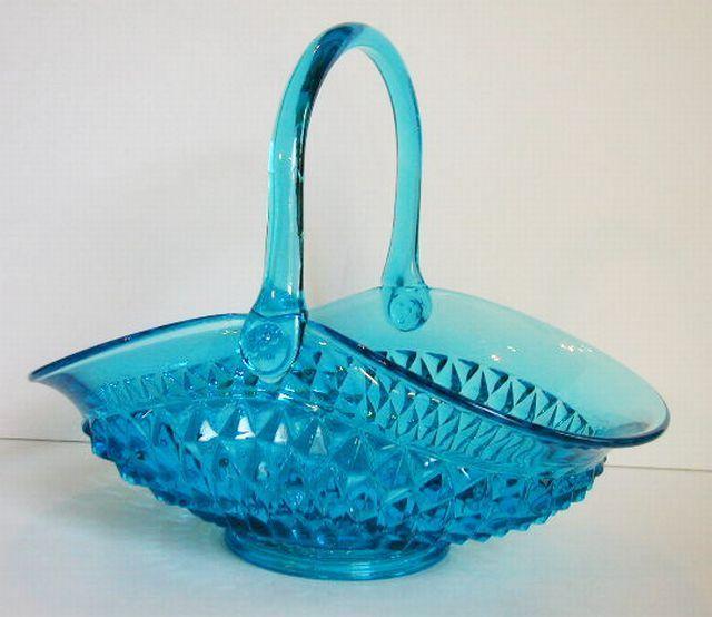 Tiara Indiana Blue Glass Handled Basket Diamond Point