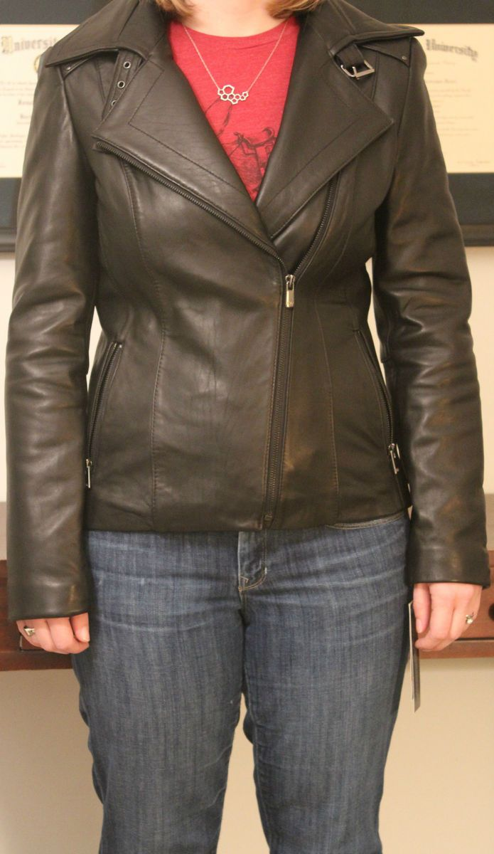 NWT Jones New York black leather motorcycle jacket. Small.