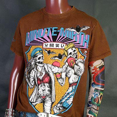 MA0244BR Minute Mirth Girl Skull Boxing Vintage Retro Rock T Shirt M