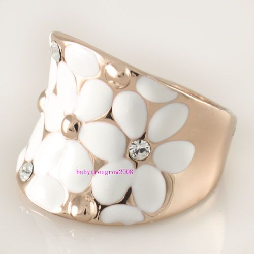 White Flower Swarovski Crystal 18K Rose Gold GP Ring R781
