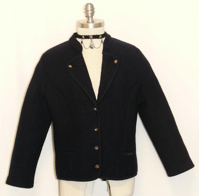 Geiger Boiled Wool Navy Blue Austria Women Winter Walk Over Coat