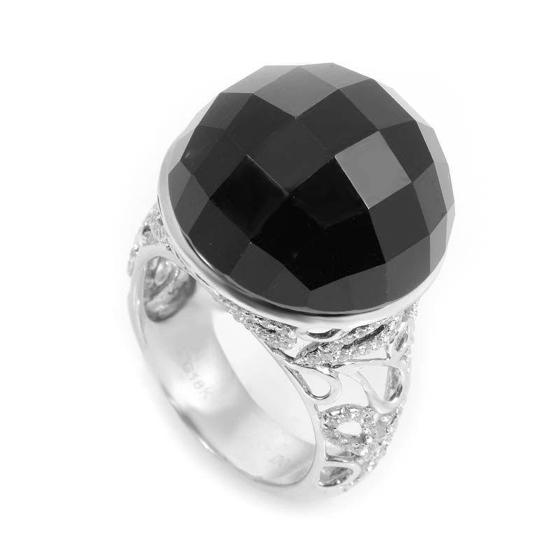 18K White Gold Diamonds Onyx Ring
