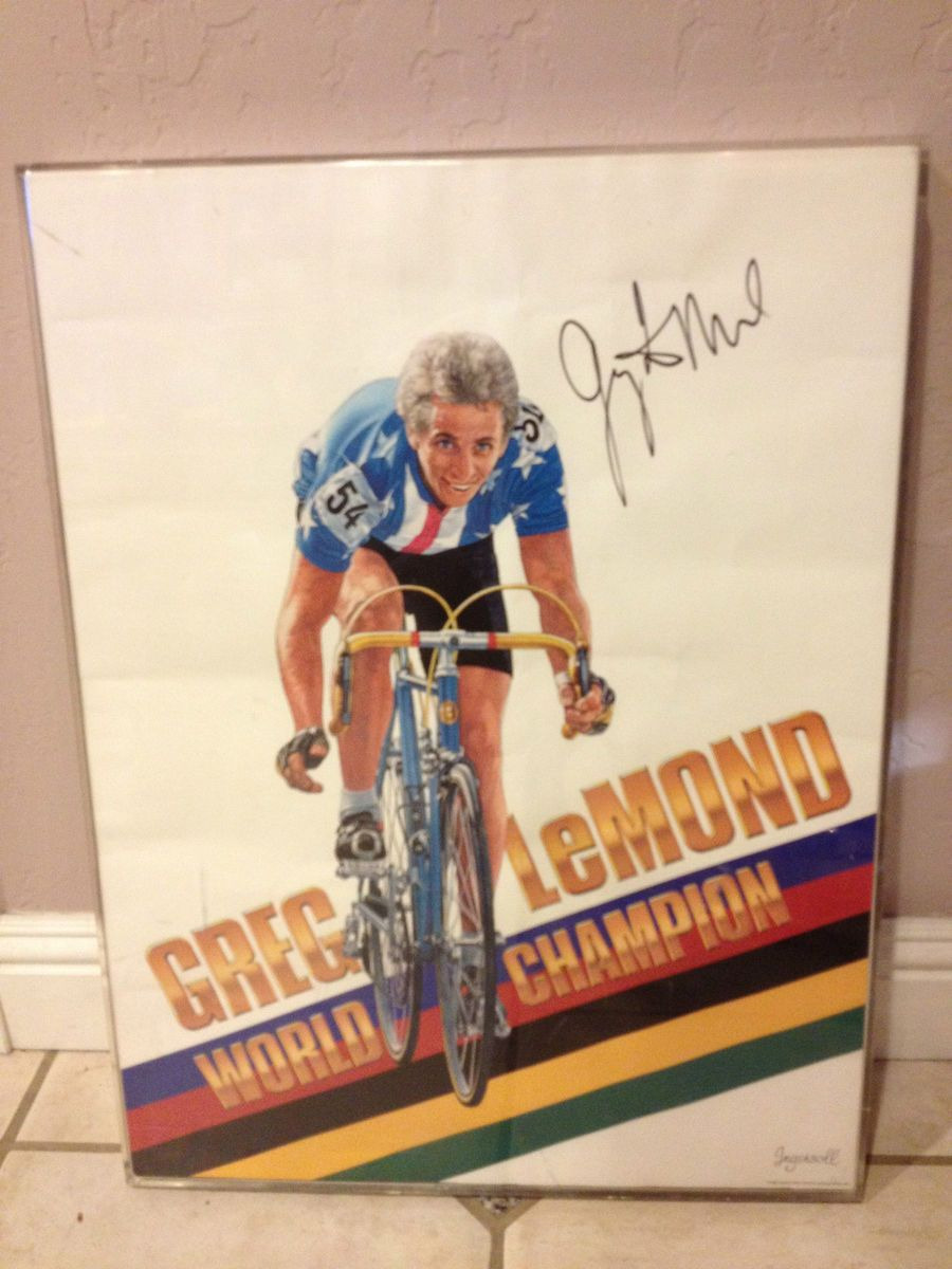 RARE Greg Lemond World Champion Autographed 18x24 Cycling Poster