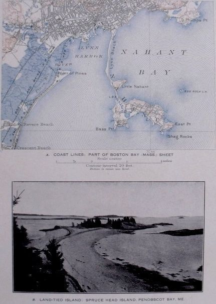 1908 ANTIQUE MAP NAHANT BAY LYNN HARBOR REVERE BEACH MA MASSACHUSETTS