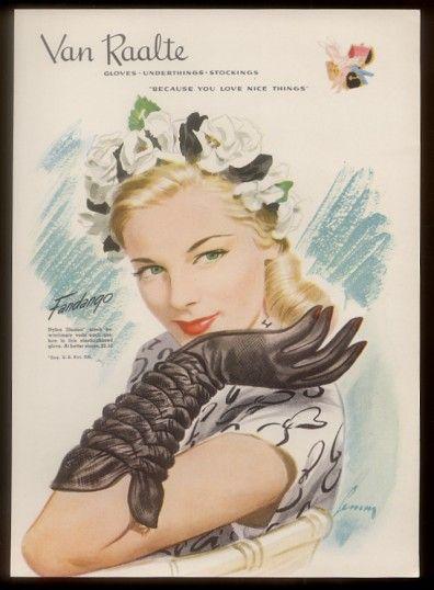 Pretty Woman Art Van Raalte Fandango Gloves Vintage Print Ad