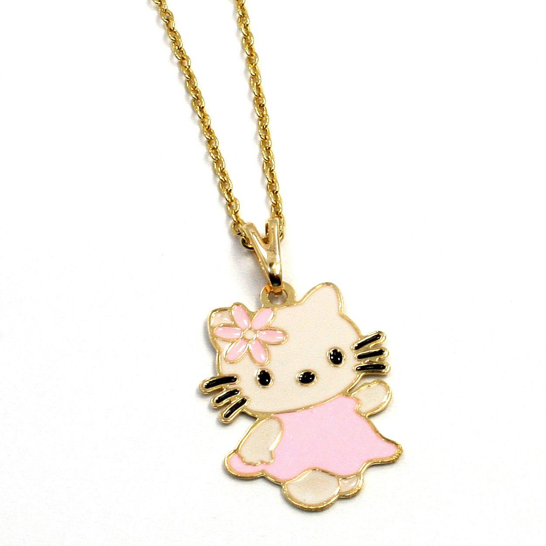 Gold 18K GF Pink Enamel Pink Pastel Hello Kitty Girl Teens Pendant