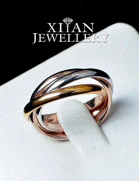 Classic Silver Rose Gold Gold Plated Twined Ring