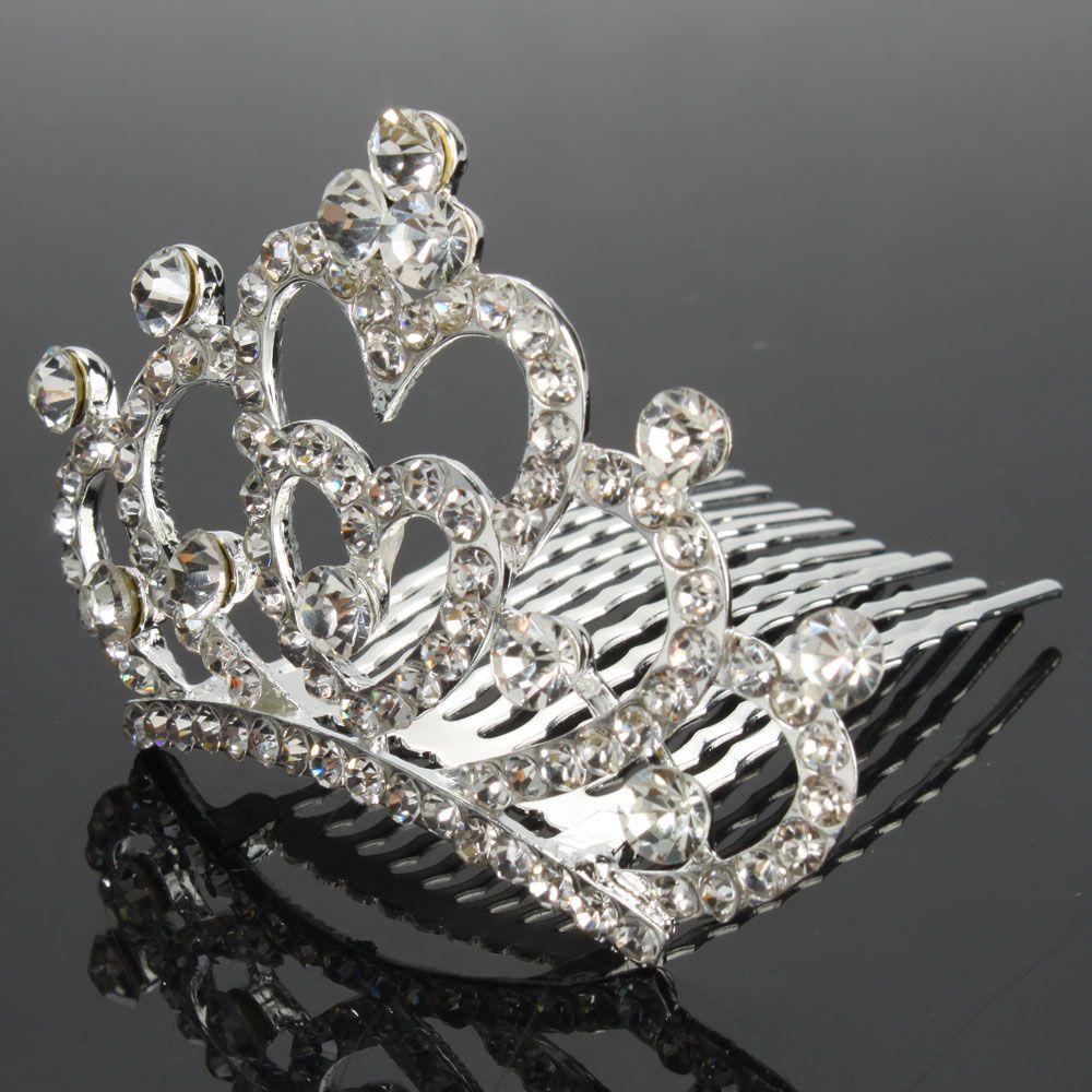 Fashion Wedding Bridal Heart Shaped Style Rhinestone Crown Hair Comb