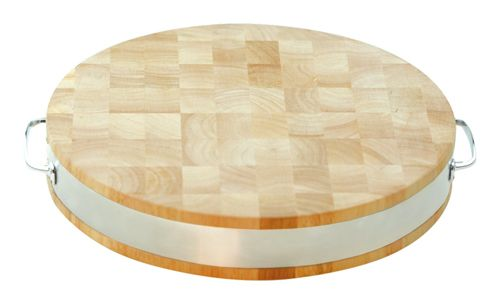 15in Thick Round Cutting Board w Steel Band by Towle Silversmiths Hard