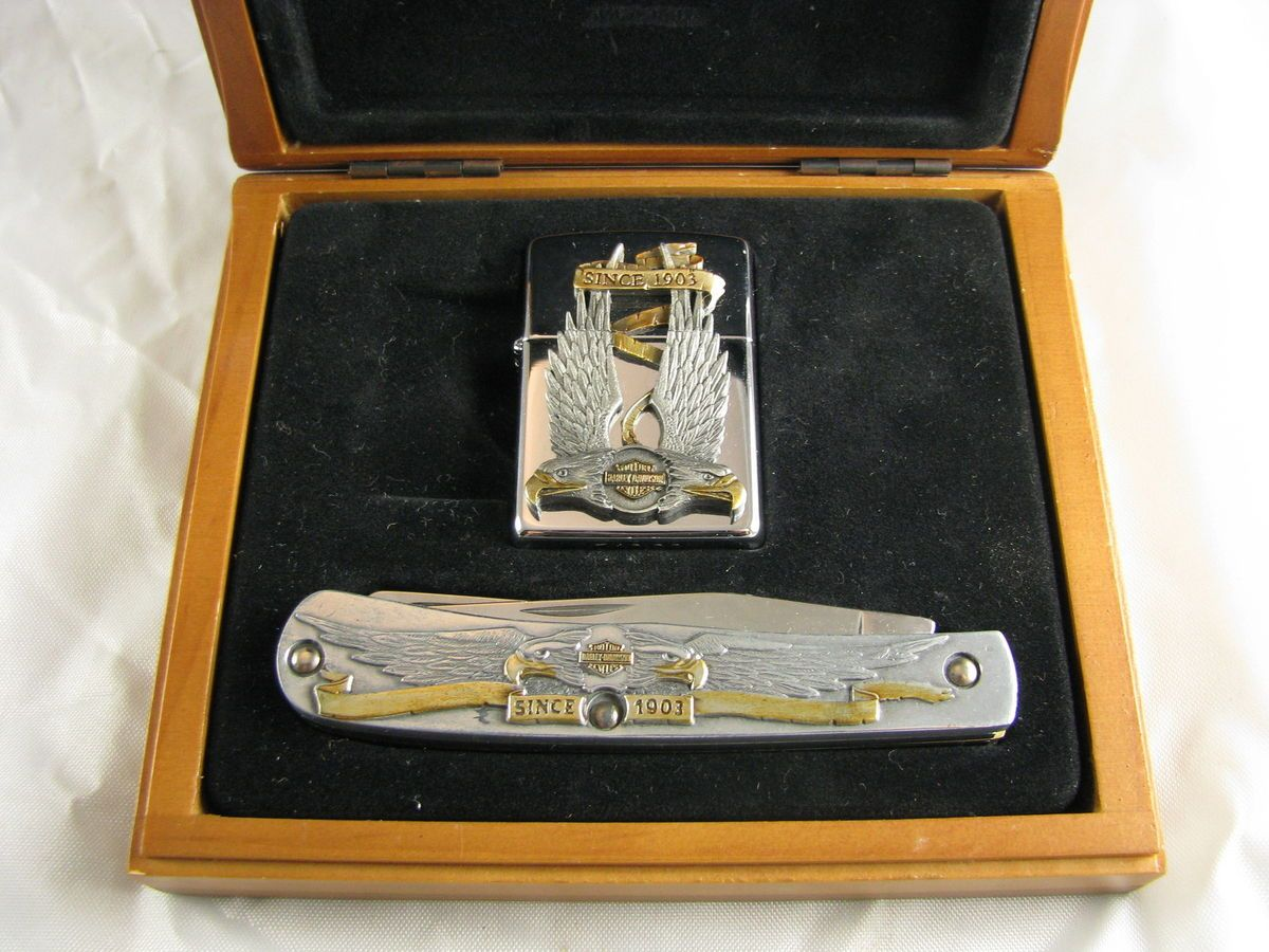 Harley Davidson Zippo Lighter and Case Knife Set from 1996
