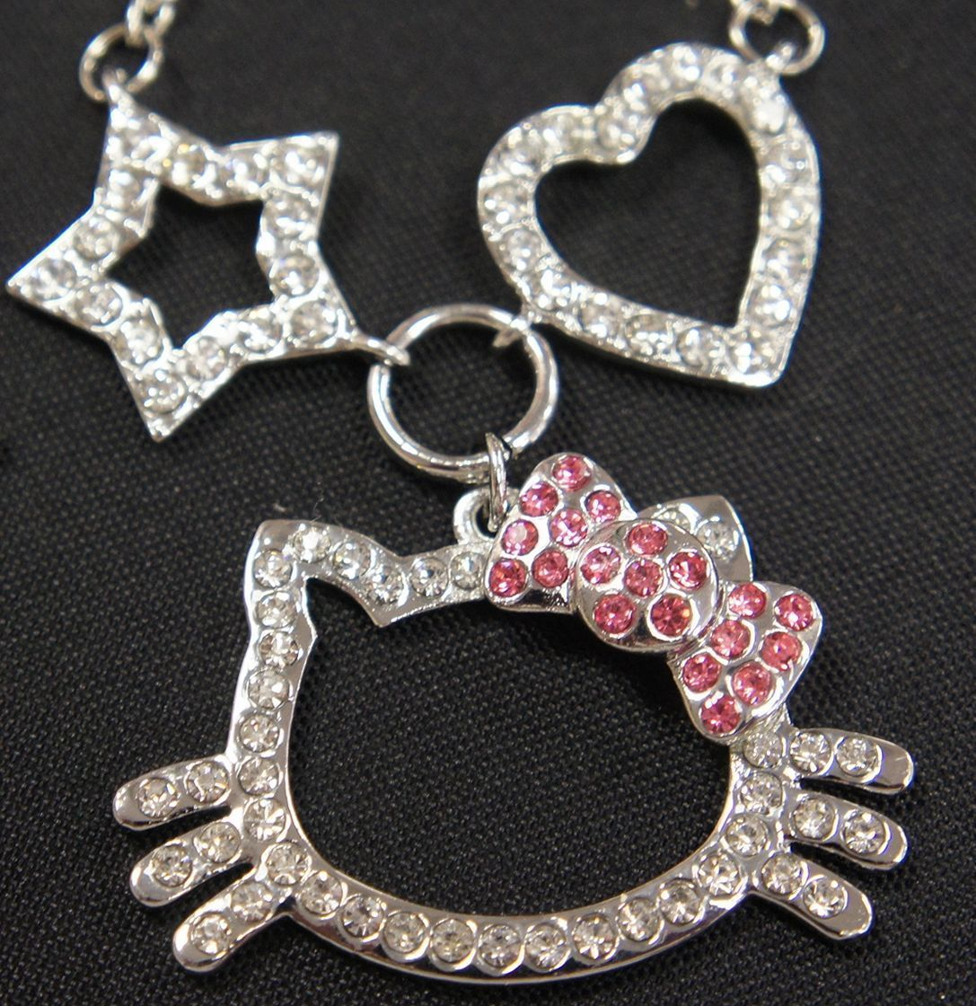 Hello Kitty Charms Heart Star Necklace Made with Crystal 4