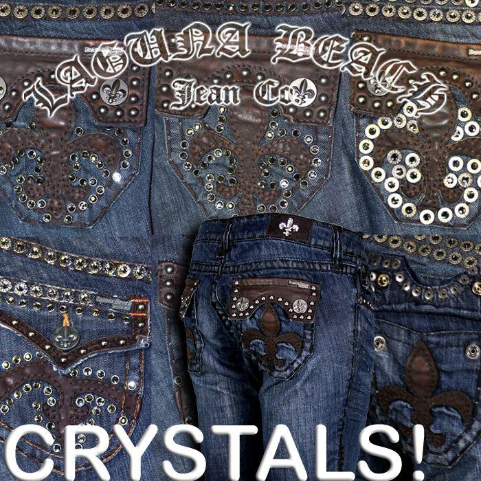Laguna Beach Jeans 3rd Gen Stud Leather Indigo Crystals Hermosa Beach