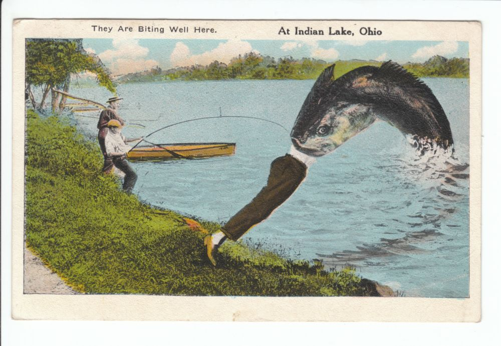 Giant fish exaggeration lakeview indian lake ohio oh old for Indian lake ohio fishing