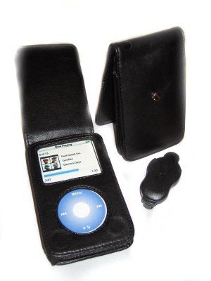 iPod Classic 120GB 160GB Leather Flip Case Cover Black
