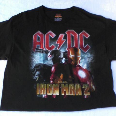 Mens Tshirt Iron Man 2 ACDC Black Size L