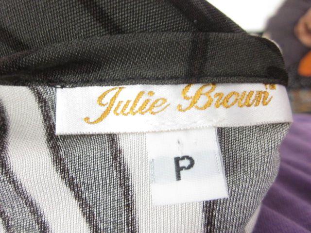 Julie Brown Green White Black Print Silk Wrap Dress P