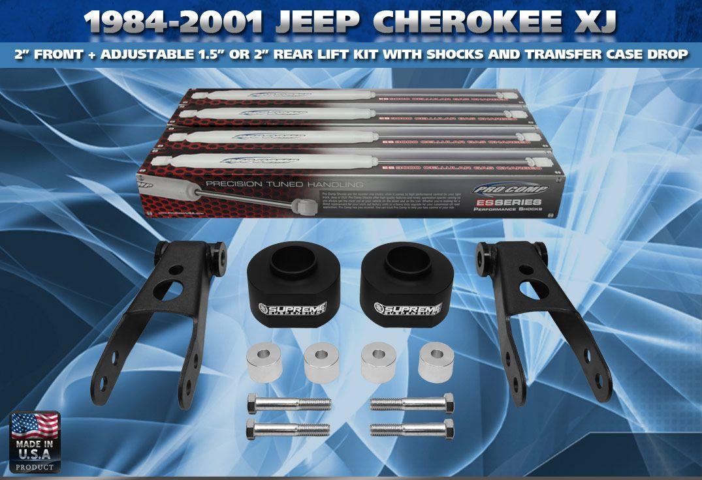 84 01 Jeep Cherokee XJ 2+ 2 Lift Kit, Transfer Case Drop, Shackles