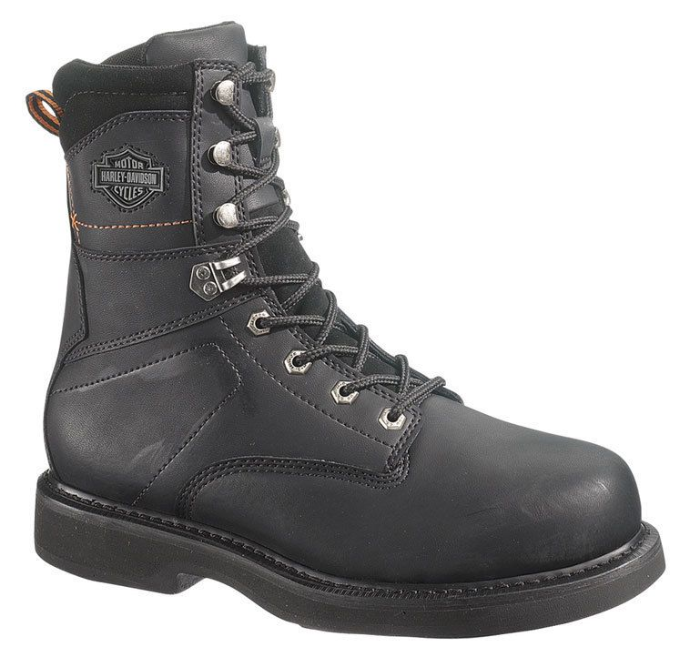 Mens Harley Davidson John Steel Toe Motorcycle Boots Black Leather D M