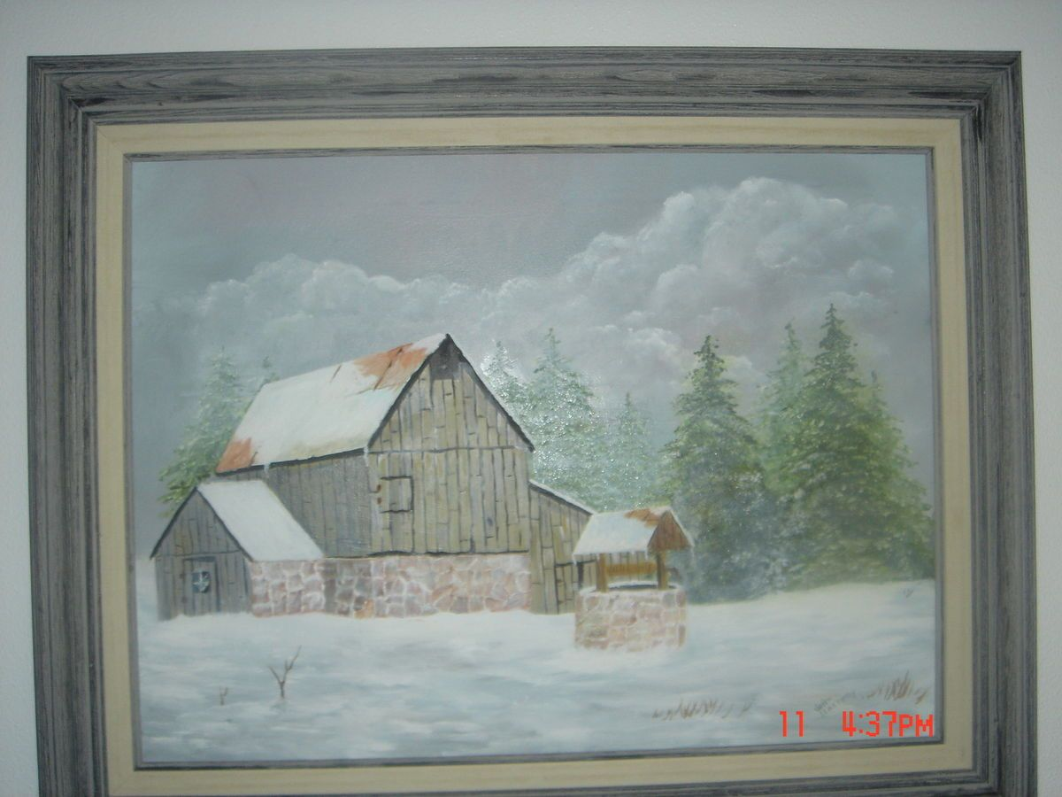 Vintage 1981 Signed Winter Landscape Canvas Oil Painting by John Slattery