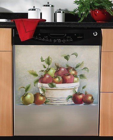 Red apple magnetic dishwasher cover magnet kitchen decor for Apple kitchen decoration set