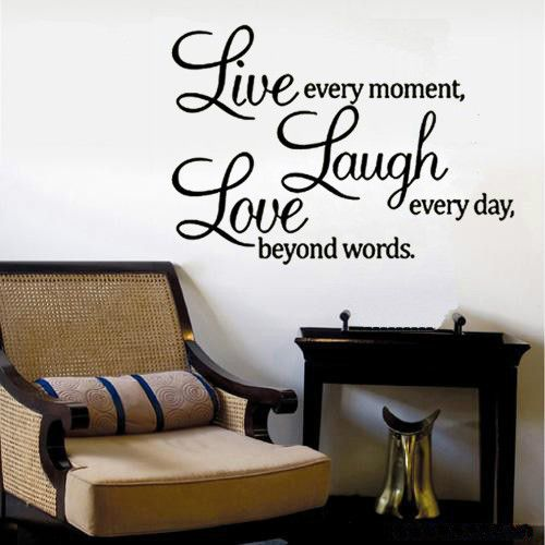 Live Laugh Love Quote Vinyl Removable Wall Stickers Modern Home Decor
