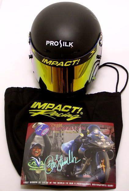 NHRA Peggy Llewellyn Impact Helmet Signed Pro Stock Bike RARE 07 Race