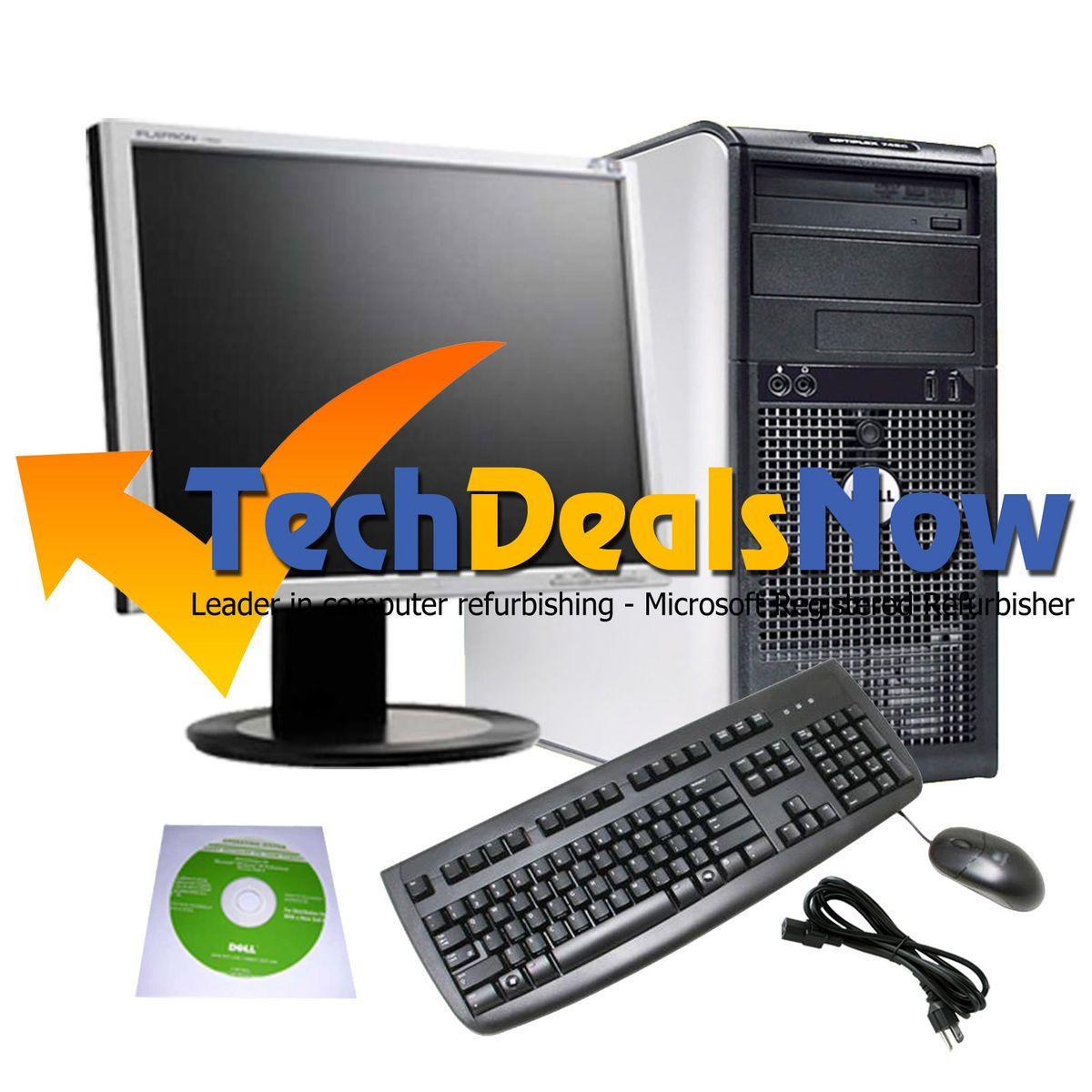 Super Fast Dell Dual Core Core 2 Duo Tower Desktop Computer PC LCD