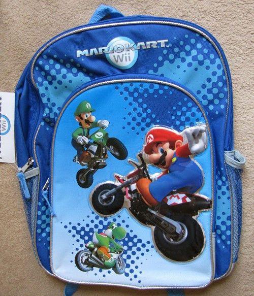 Nintendo Mario Kart Wii Game Bike Backpack School Bag