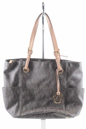MICHAEL KORS brown leather JET SET SIGNATURE E W ITEM tote purse bag