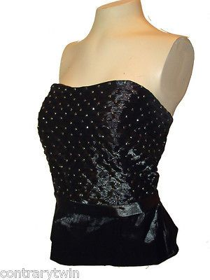 Tube Top Bustier, Cachet, Black Shiny Shirred Rhinestone Studded Lined