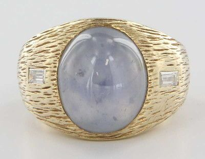 Yellow Gold Natural Blue Star Sapphire Diamond Mens Ring Fine Jewelry
