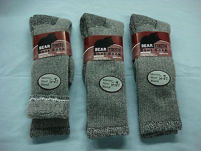 NWT Womens Bear Tooth Merino Wool Blend Boot Sock 3 pr. Grey/Black Med