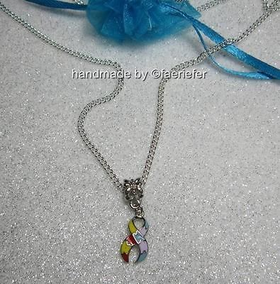 Autism Aspergers Awareness puzzle piece ribbon charm necklace silver